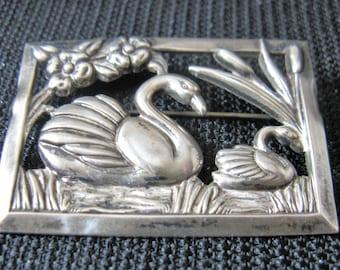 Vintage 1940s Sterling Silver Swan Brooch with Openwork