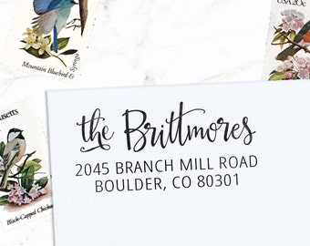 Custom Address Stamp, Calligraphy Stamp, Custom Stamp,  Personalized Stamp, Wedding Stamp, Self Inking or Eco mount -  Brittmore