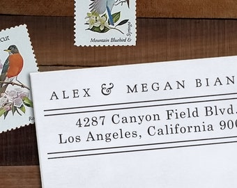 Custom Address Stamp, Return Address Stamp, Wedding address stamp, Calligraphy Address Stamp, Self inking or Eco Mount stamp - Pressmaker