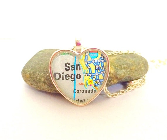 San Diego Map Necklace, Heart Pendant with Chain, California Necklace, Silver or Bronze