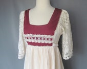 Vintage 1970s Does Victorian Burgundy and Cream Crochet Dress Size Small