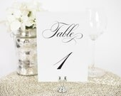 """Wedding Table Numbers - 5x7"""", Any Color - Delicate Elegance Design - Decorative, Party Decoration, Script"""