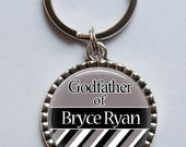 GODFATHER Keychain, Baptism Gift for Godparent, Custom Christening Gift