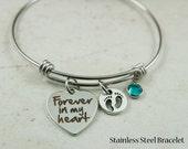 Forever In My Heart Charm Bracelet, Baby Memorial Bracelet, In Loving Memory, Infant Loss, Always In My Heart