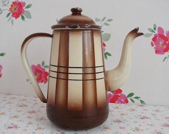 Vintage Enamel Coffee Pot Brown and Beige Stripes  Enamelware