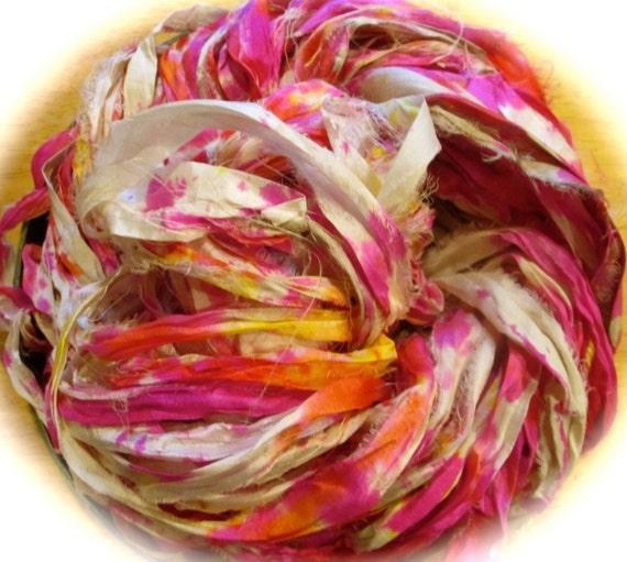 Pinata Recycled Sari Silk Thin Ribbon Yarn 5 Yards For