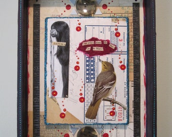 Sassy birds collage, 3D mixed media assemblage, art