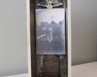 Mixed media assemblage, 3D art, shadow box, vintage found object art