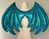 Teal Sparkle Dragon Wings, wireless wings, Turquoise dragon, Halloween Costume, cosplay wings, cosplay dragon, pretend play