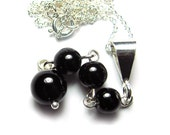 Black Tourmaline Meditation Pendant, Chakra Necklace, Yoga Pendant in Sterling Silver or 14k Gold Filled