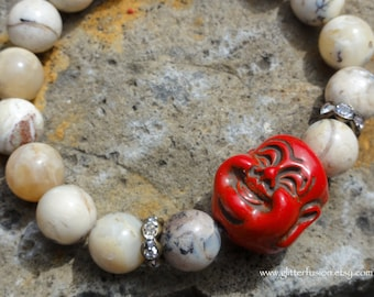 Red Coral Laughing Buddha Head and African Opal Beaded Boho Stretch Bracelet, Greige Zen Yoga Stretch Elastic Bracelet, Beige Layering Beads
