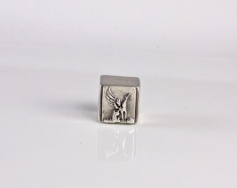 Forever In My Heart - Winged - Greyhound With Wings Bead Silver Pandora-Style Large Hole - Made to Order