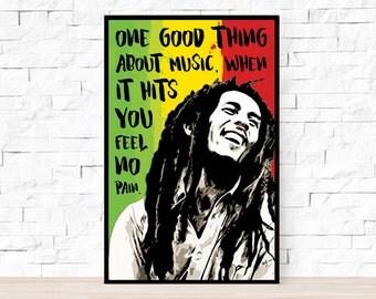 Bob Marley Song Lyrics Poster - Trenchtown Rock