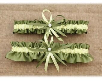 Sage Green and Light Yellow Wedding Garter Set. Bridal Garter Set