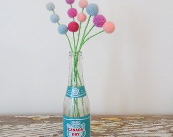 Pom pom Flowers. Felt Flowers.  Small Pastel Bouquet.  Pink, blue, purple flowers.  Fake Flowers.  Craspedia, billy button, billy balls.