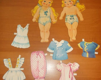 Vintage Paper Dolls Two Blonde Baby Grisl Curly hair some Clothes