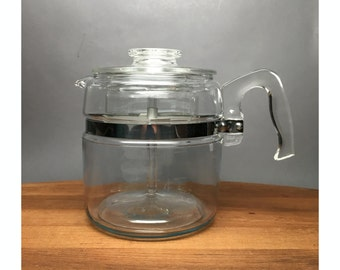 Pyrex Flameware 6 Cup Coffee Percolator  - model 7756-C - Complete