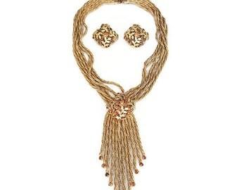 Unsigned Hobe, Necklace Earrings, Gold Mesh, Fringe, Amber Rhinestones, Leaf Design, Vintage Jewelry Set, Vintage Necklace, Vintage Earrings