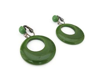 Bakelite Hoop Earrings, Bakelite Hoops, Pea Soup Green, Spinach, Vintage Earrings, Dangle Earrings, Vintage Jewelry, Bakelite Jewelry
