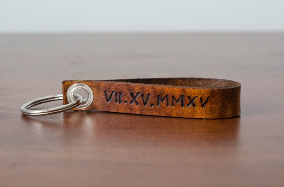 Custom Roman Numerals Date Leather Keychain - Accessory, Anniversary Gift, Custom Keychain, Wedding Gift,
