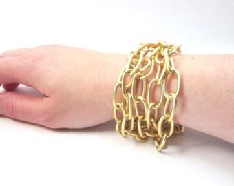 Gold Chain Bracelet -- Layered Chain Bracelet -- Gold Metal Bracelet -- Chunky Gold Bracelet -- Big Chain Bracelet -- Tough Bracelet
