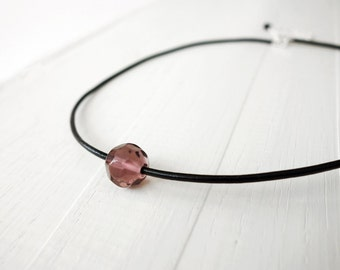 Leather choker necklace single bead necklace black cord choker purple bead choker for women
