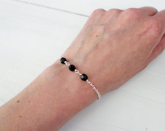 Small chain bracelet black bead bracelet minimalist bracelet women's dainty bracelet