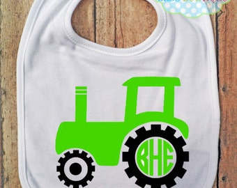 Tractor Circle Monogram Bib - Bib - Personalized - Farm