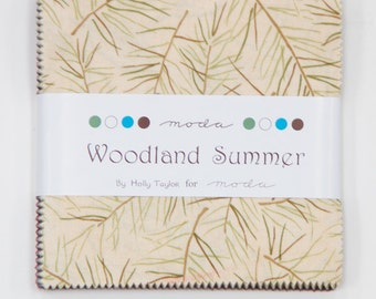 "Woodland Summer Prints by Holly Taylor for Moda ~ 100% Cotton ~ 42 / 5"" Square Charm Pack"