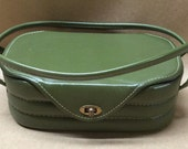 Avocado Green Vintage Purse Box Purse Retro Handbag Mad Men Pocketbook Vintage Box Purse