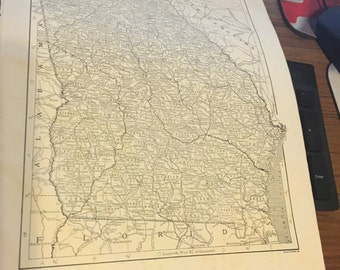 Circa 1910 Georgia state map. Great for framing! Free shipping. 8 1/2 x 11 paper image 7x10.
