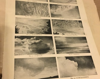 Circa 1910 book page image of cloud formations. Great for the classroom or meteorologist in the family ! Great for framing! Free shipping. 8