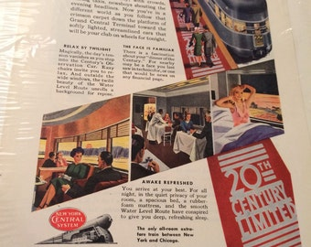 New York Central railroad ad circa 1946.