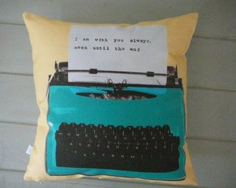 Personalized Typewriter Pillow - Pillow Cover - Christmas Gift - Decorative Pillow -  Customize - Peach and Teal -