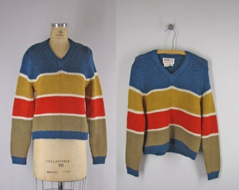 Vintage 1950s Sweater l 50s Striped Pullover Sweater by Phil Rose l Pantsweater