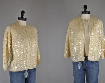 1960s Vintage Sweater l 60s Cream Sequin Sweater