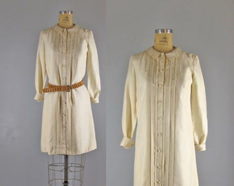 Vintage 1970s Dress l 70s Ivory Pleated Shirtdress