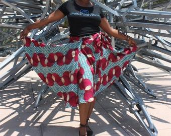 African Print Wrap Skirt