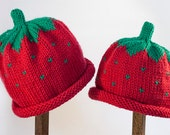 Child Adult Hat Rolled Brim Beanie Size SMALL 1 to 6 months Color Strawberry