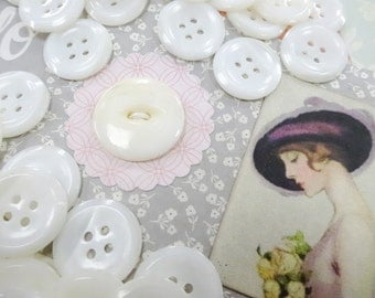 """Needful Notions Vintage White Mother Of Pearl MOP Sewing Buttons Scrap Pack Project Inspiration DIY Kit 3/4"""" Four Hole"""