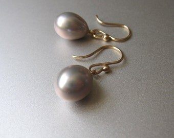 Gray Pearl and Solid 14k Gold Drop Earrings