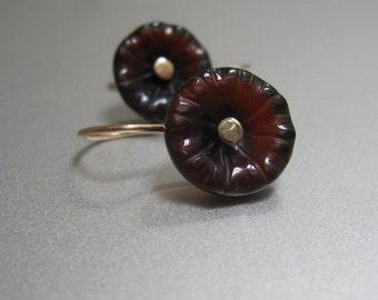 Carved Brown Agate Flowers Solid 14k Gold Earrings