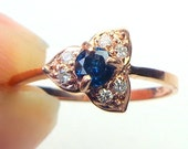 Blue Diamond,10k Rose Gold Ring, Solid Gold, New Ring, Classic Gold Ring, Promise Ring, Engagement Ring