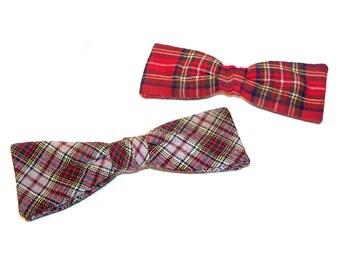 2 Vintage Dapper 1950s Plaid Clip On Bow Ties, Fun Bowties