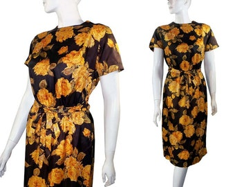 Vintage 1950s 1960s Yellow Roses Classic Party Wiggle Dress by Diane Young
