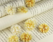 Gillian - Lemon  Glittered Shimmer Puffy mini flowers by Prima. Flower embellishments. DIY Craft Supplies. Scrapbooking.
