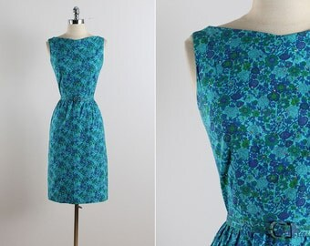 Vintage 50s Dress | vintage 1950s dress | floral rhinestone dress small | 5765