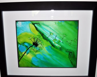Make a Wish Dandelion Original Alcohol Ink Painting