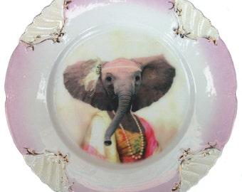 "SALE - Eleanor the Elegant Elephant - Altered Vintage Plate 8"""