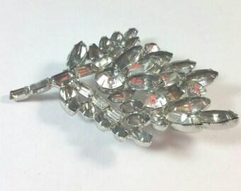 Silver Metal Organic Leaf Form Smokey & Clear Rhinestones Brooch Pin Unsigned